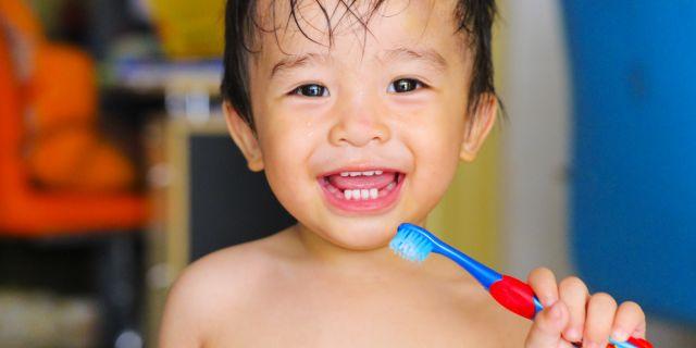 pulizia denti bambino