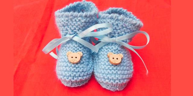 Scarpine neonato, babbucce in lana