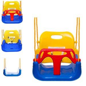 EXTSUD Altalena Colorata 3 in 1 Bambini in Plastica da Esterno