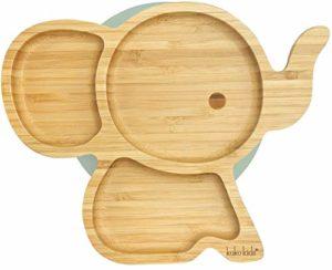 Piastra di aspirazione dell'elefante in bambù naturale per neonati e bambini