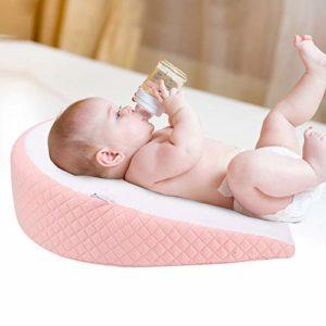 Cuscino anti-reflusso in cotone rosa impermeabile per neonato