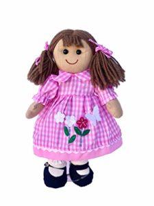 My Doll Bambola Rosa a Qudretti con Decorazioni Fiori