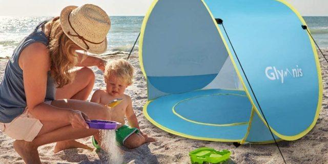 Bambini sicuri e al riparo dai raggi UV con la piscina da spiaggia