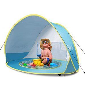 Glymnis Tenda da Spiaggia Bambini con Protezione Solare UPF 50+, Blu