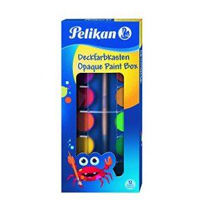 Pelikan Acquerelli, 12 Colori, 1 Tubetto di Bianco e 1 Pennello, Per Bambini
