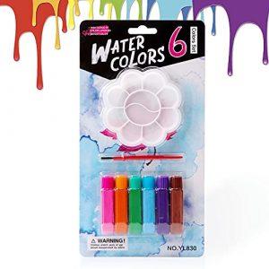 Set di Pittura ad Acquerello - 6 Colori per Bambini con Tavolozza e Pennello