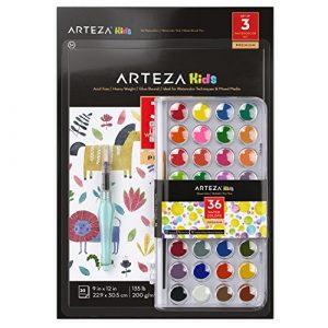 Arteza Set Completo Acquerelli per Bambini, Include 36 Colori