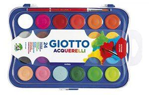 Giotto acquerelli in 24 colori, pastiglie da 30mm, con pennello